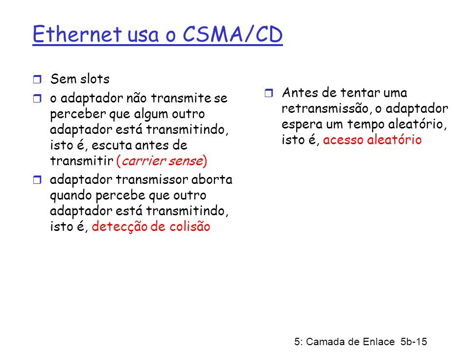 Ethernet usa o CSMA/CD Sem slots