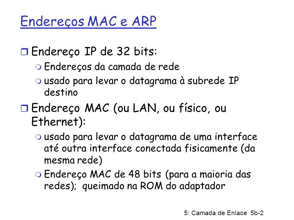 Endereços MAC e ARP Endereço IP de 32 bits: