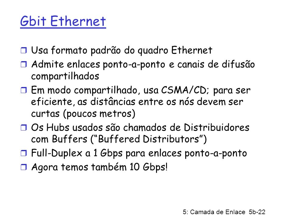 Gbit Ethernet Usa formato padrão do quadro Ethernet