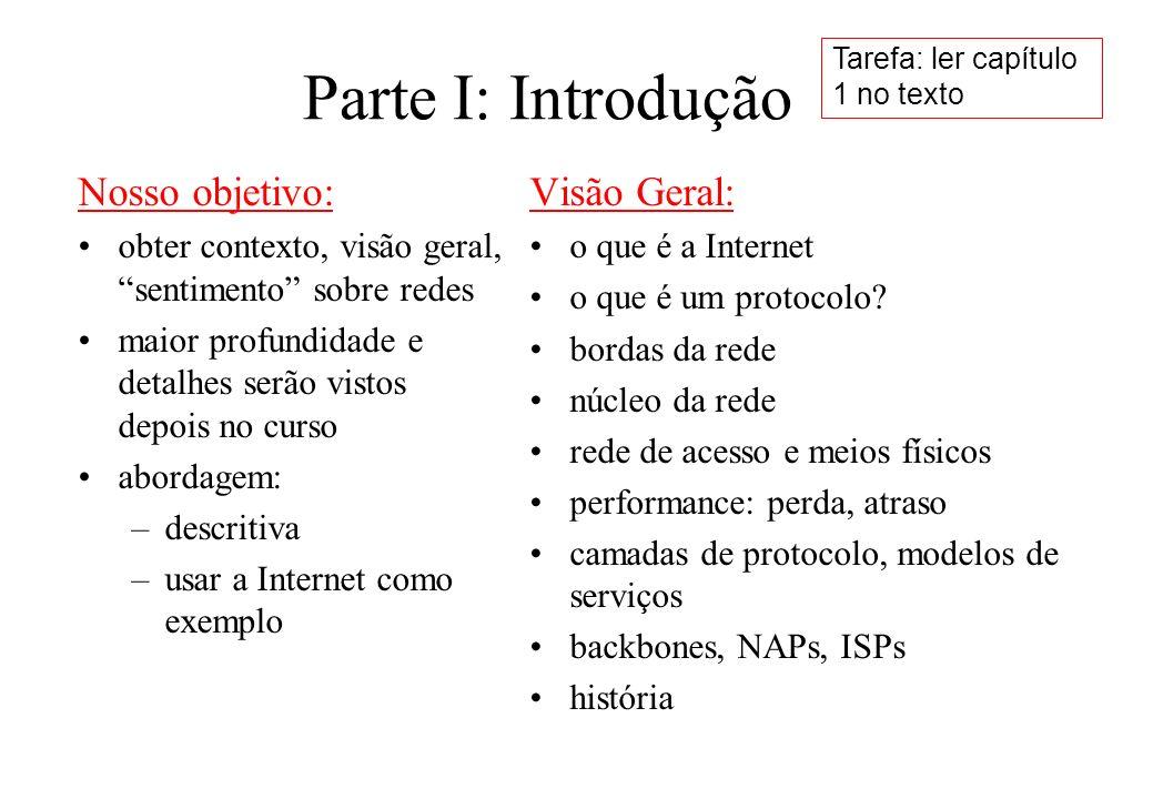 Parte I: Introdução Nosso objetivo: Visão Geral: