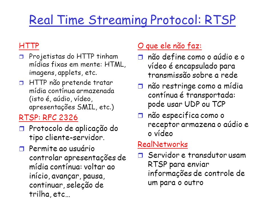 Real Time Streaming Protocol: RTSP