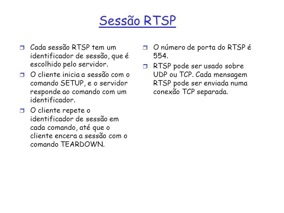 Sessão RTSP Cada sessão RTSP tem um identificador de sessão, que é escolhido pelo servidor.