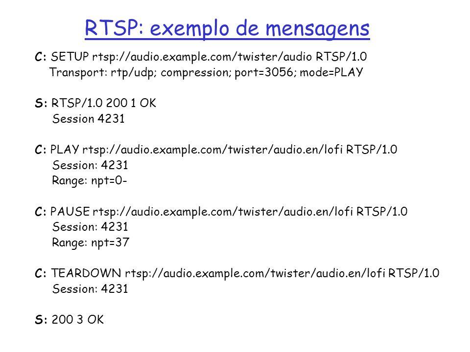 RTSP: exemplo de mensagens