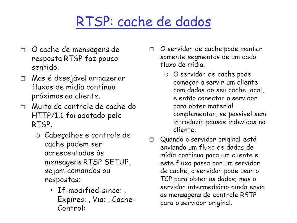 RTSP: cache de dados O cache de mensagens de resposta RTSP faz pouco sentido.