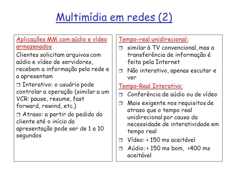 Multimídia em redes (2) Aplicações MM com aúdio e vídeo armazenados