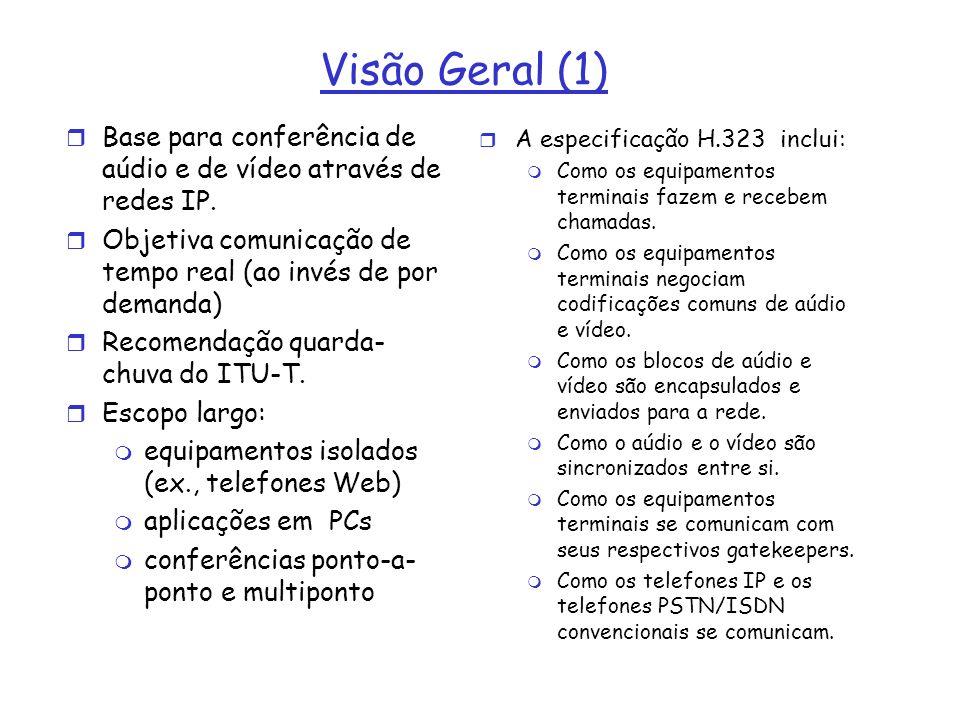 Visão Geral (1) Base para conferência de aúdio e de vídeo através de redes IP. Objetiva comunicação de tempo real (ao invés de por demanda)
