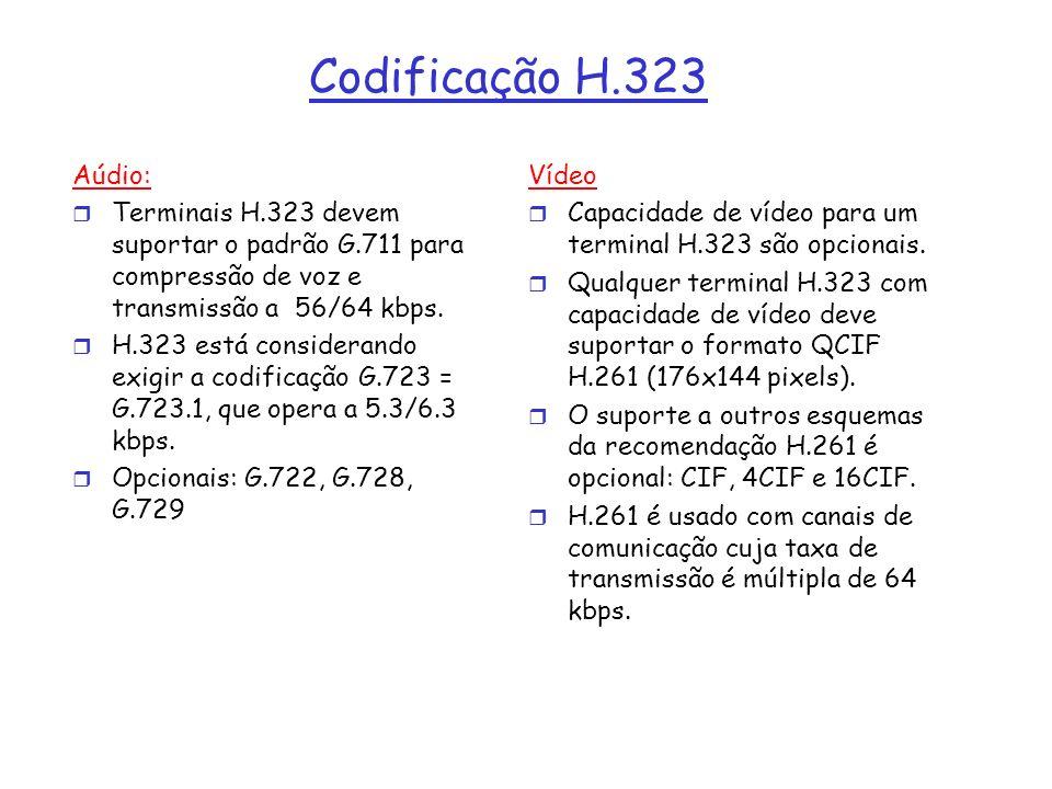 Codificação H.323 Aúdio: Terminais H.323 devem suportar o padrão G.711 para compressão de voz e transmissão a 56/64 kbps.