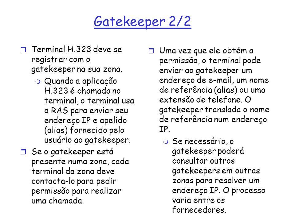 Gatekeeper 2/2 Terminal H.323 deve se registrar com o gatekeeper na sua zona.