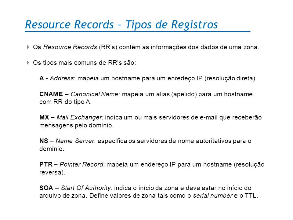 Resource Records – Tipos de Registros