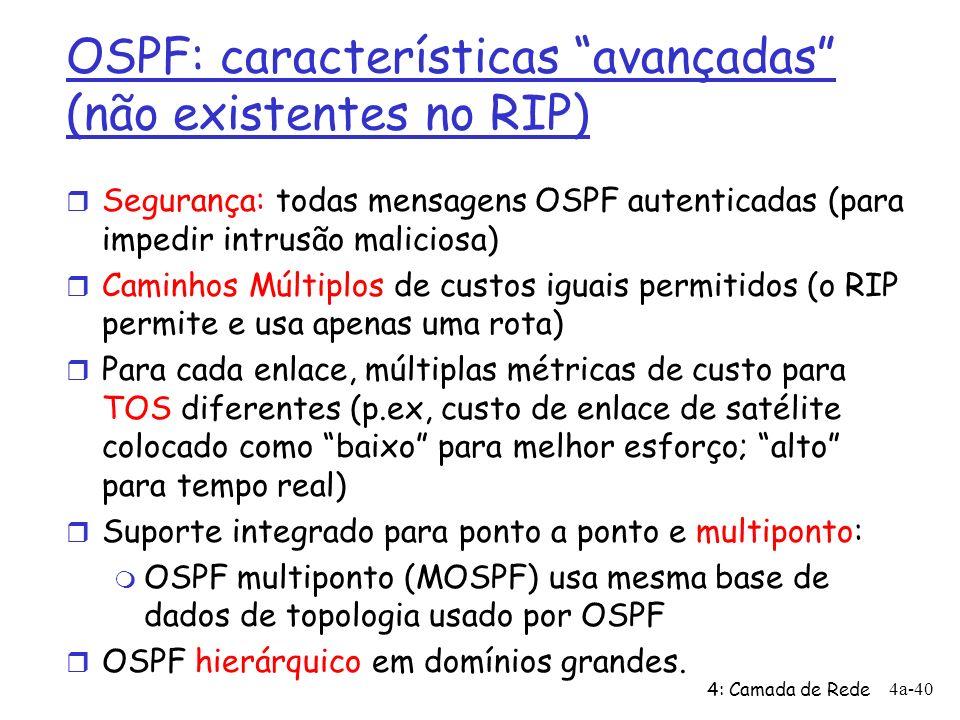 OSPF: características avançadas (não existentes no RIP)