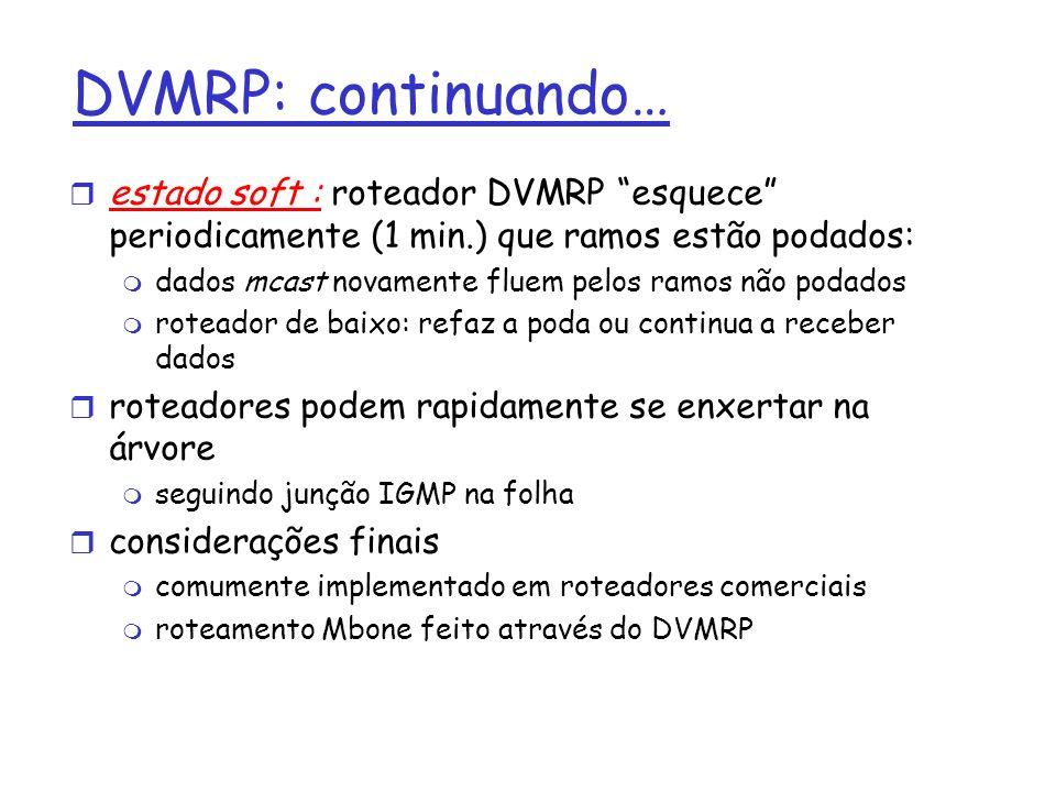 DVMRP: continuando… estado soft : roteador DVMRP esquece periodicamente (1 min.) que ramos estão podados: