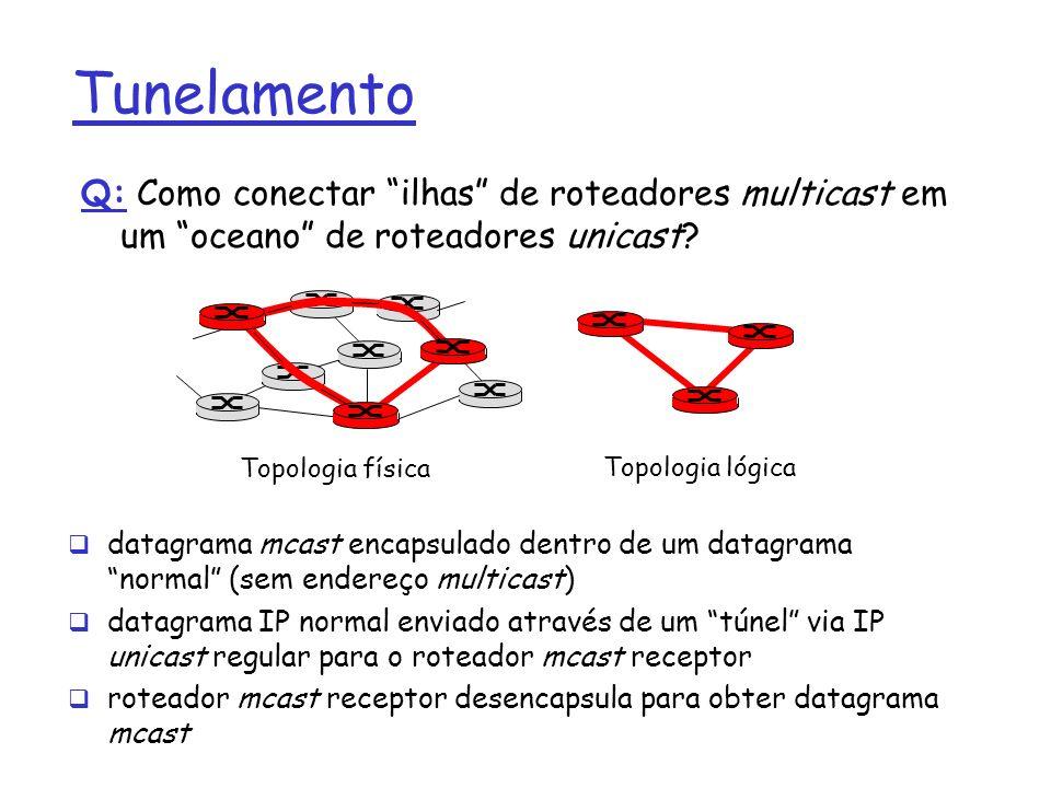Tunelamento Q: Como conectar ilhas de roteadores multicast em um oceano de roteadores unicast Topologia física.