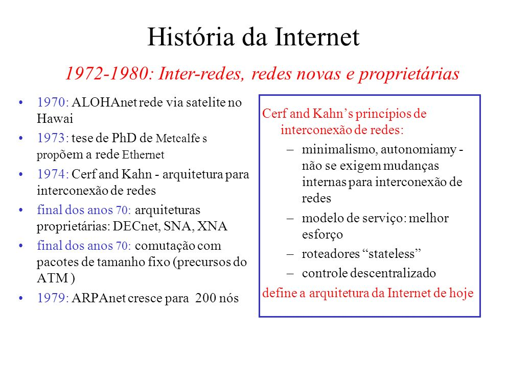 1972-1980: Inter-redes, redes novas e proprietárias
