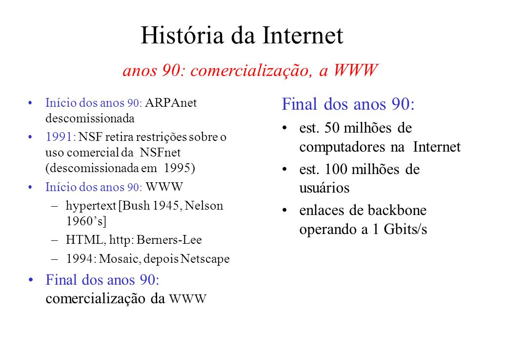 anos 90: comercialização, a WWW