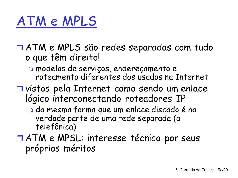 ATM e MPLS ATM e MPLS são redes separadas com tudo o que têm direito!