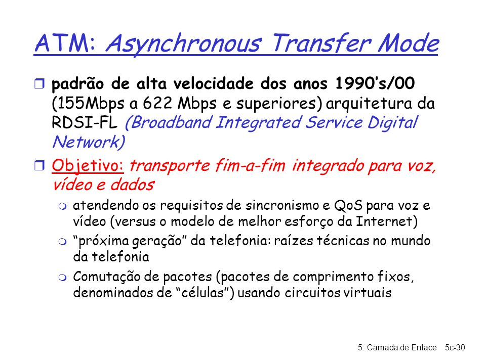 ATM: Asynchronous Transfer Mode