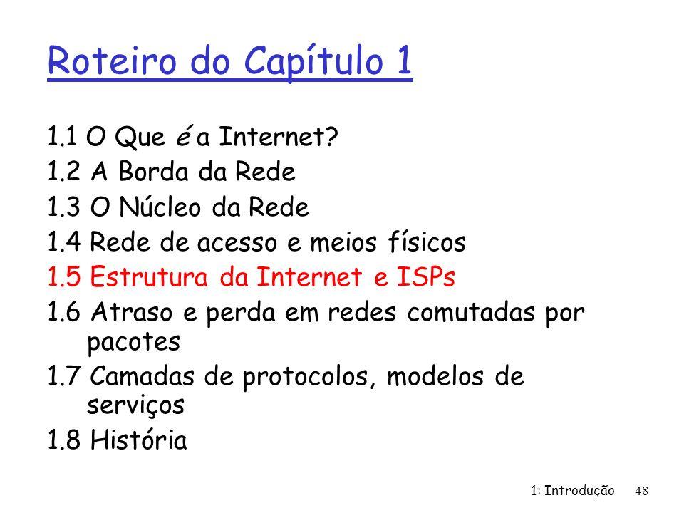 Roteiro do Capítulo 1 1.1 O Que é a Internet 1.2 A Borda da Rede