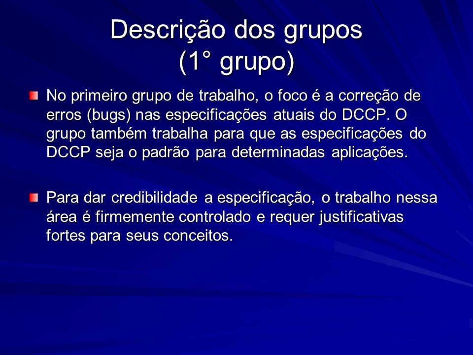 Descrição dos grupos (1° grupo)