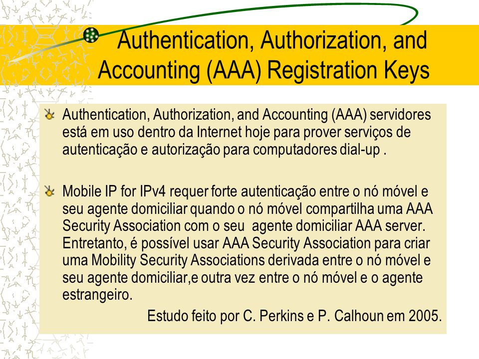 Authentication, Authorization, and Accounting (AAA) Registration Keys