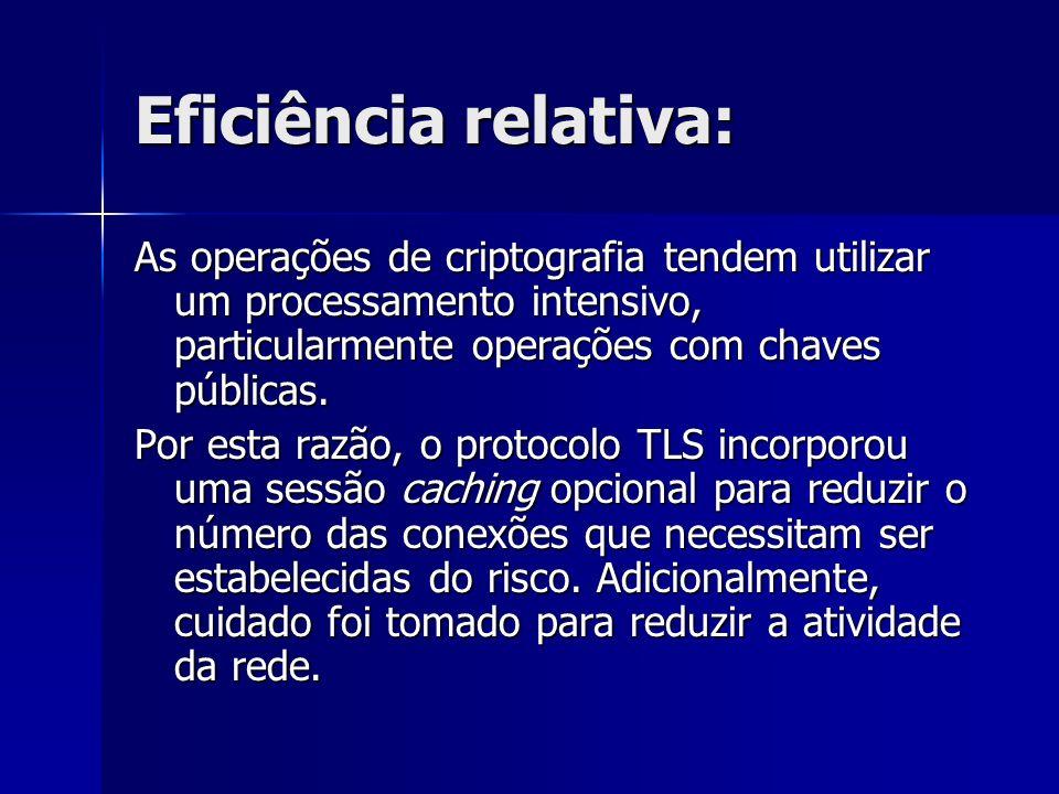 Eficiência relativa: As operações de criptografia tendem utilizar um processamento intensivo, particularmente operações com chaves públicas.