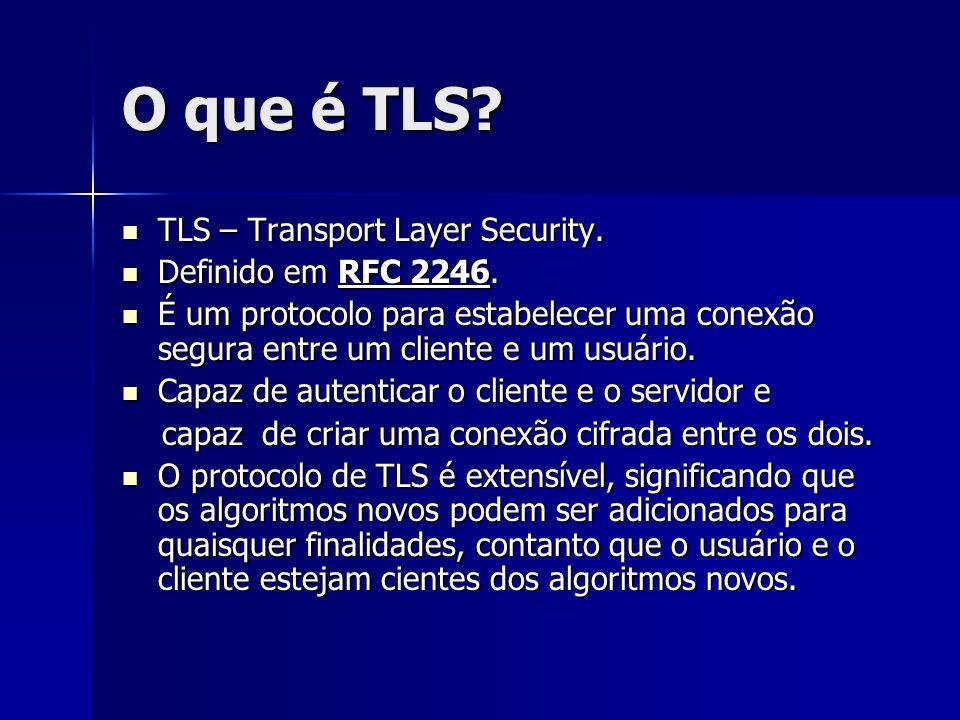 O que é TLS TLS – Transport Layer Security. Definido em RFC 2246.