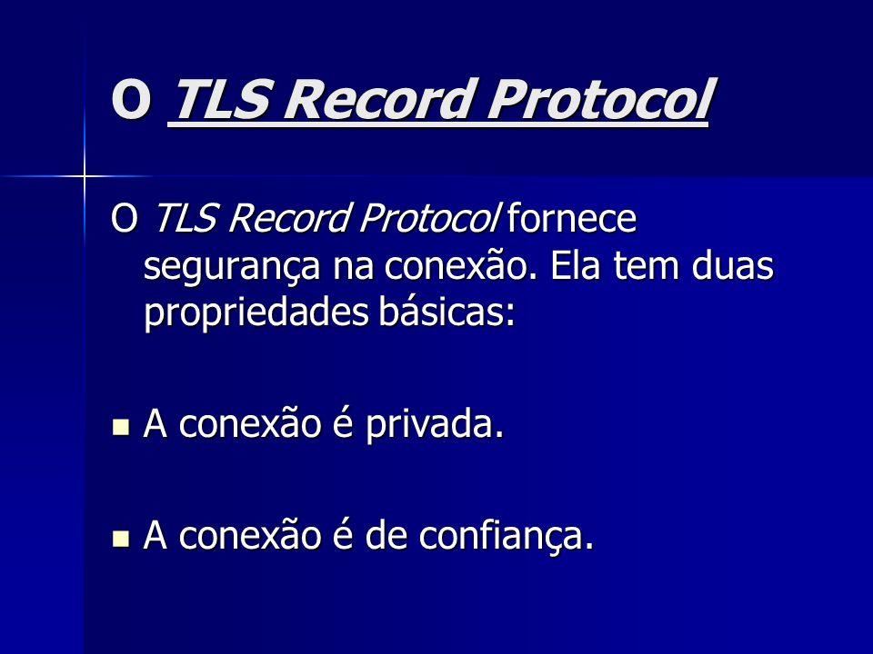 O TLS Record Protocol O TLS Record Protocol fornece segurança na conexão. Ela tem duas propriedades básicas: