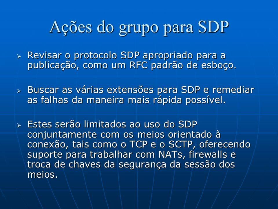 Ações do grupo para SDP Revisar o protocolo SDP apropriado para a publicação, como um RFC padrão de esboço.