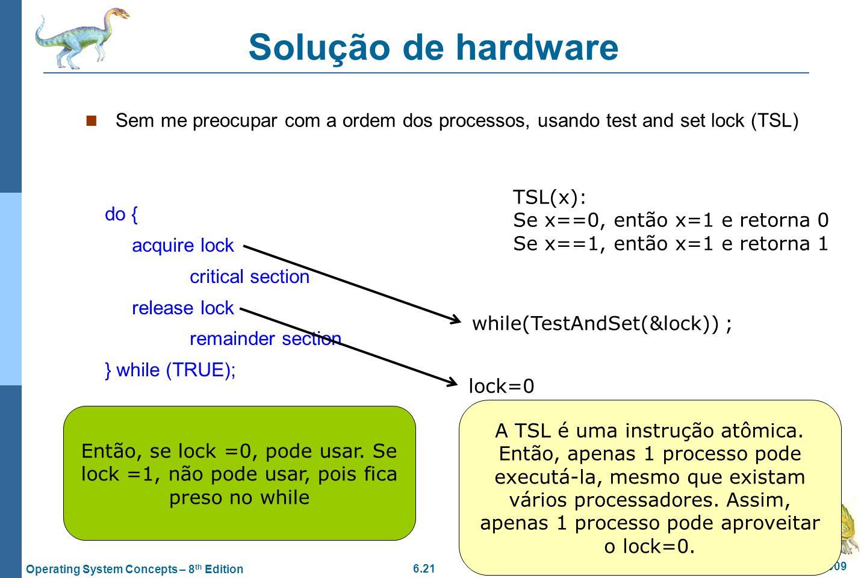Solução de hardware Sem me preocupar com a ordem dos processos, usando test and set lock (TSL) TSL(x):