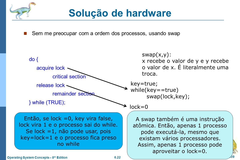 Solução de hardware Sem me preocupar com a ordem dos processos, usando swap. swap(x,y):