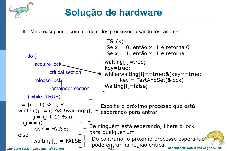 Solução de hardware Me preocupando com a ordem dos processos, usando test and set. TSL(x): Se x==0, então x=1 e retorna 0.