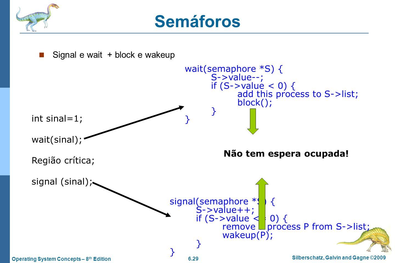 Semáforos Signal e wait + block e wakeup wait(semaphore *S) {