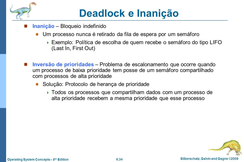 Deadlock e Inanição Inanição – Bloqueio indefinido