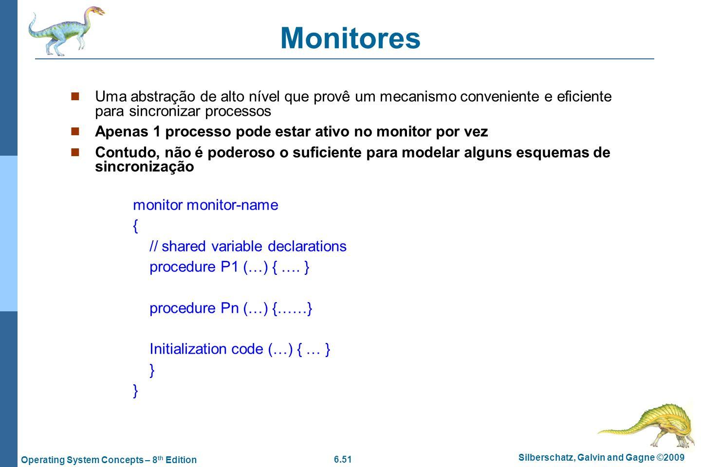 Monitores Uma abstração de alto nível que provê um mecanismo conveniente e eficiente para sincronizar processos.