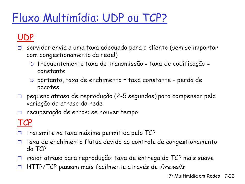 Fluxo Multimídia: UDP ou TCP
