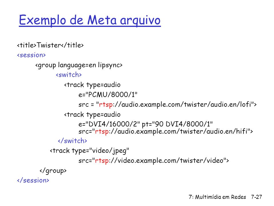 Exemplo de Meta arquivo