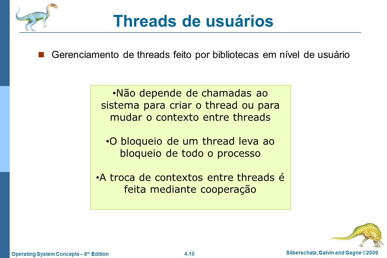 Threads de usuários Gerenciamento de threads feito por bibliotecas em nível de usuário.