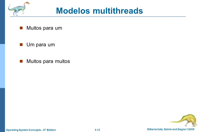 Modelos multithreads Muitos para um Um para um Muitos para muitos
