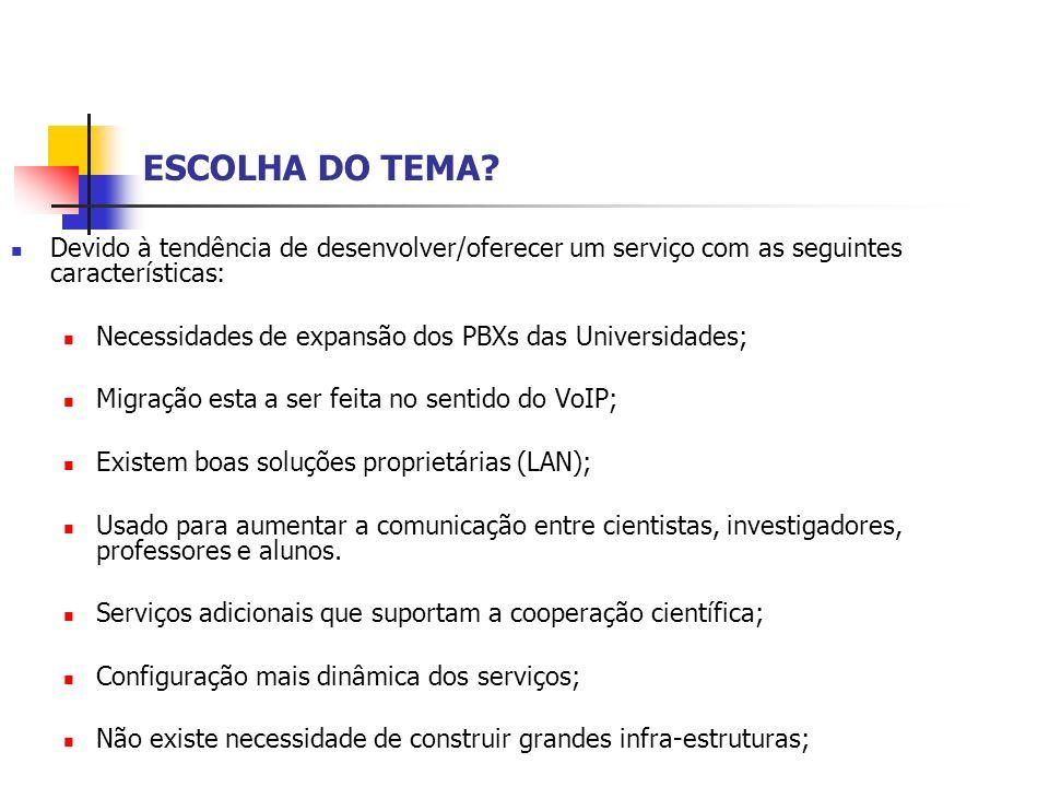 ESCOLHA DO TEMA Devido à tendência de desenvolver/oferecer um serviço com as seguintes características: