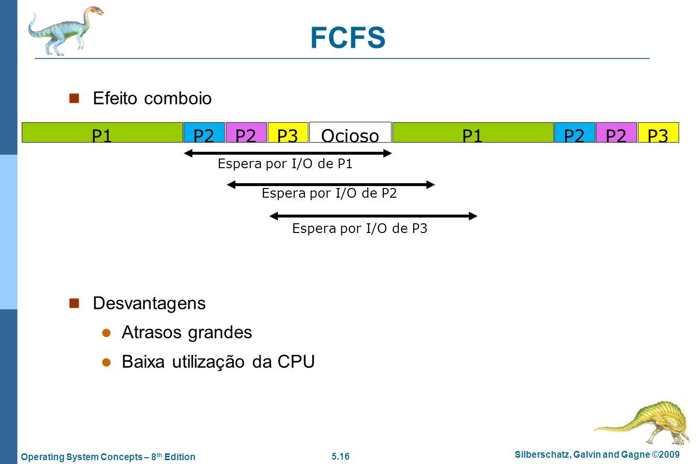 FCFS Efeito comboio Desvantagens Atrasos grandes