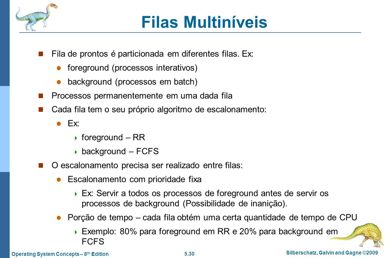 Filas Multiníveis Fila de prontos é particionada em diferentes filas. Ex: foreground (processos interativos)