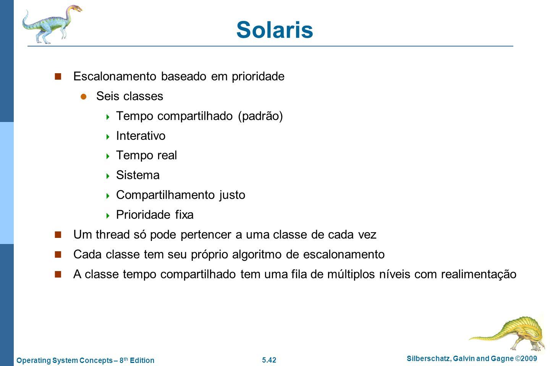 Solaris Escalonamento baseado em prioridade Seis classes