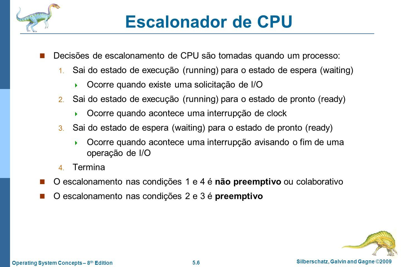 Escalonador de CPU Decisões de escalonamento de CPU são tomadas quando um processo: