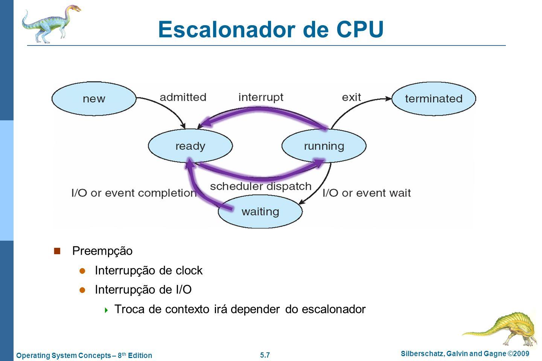 Escalonador de CPU Preempção Interrupção de clock Interrupção de I/O