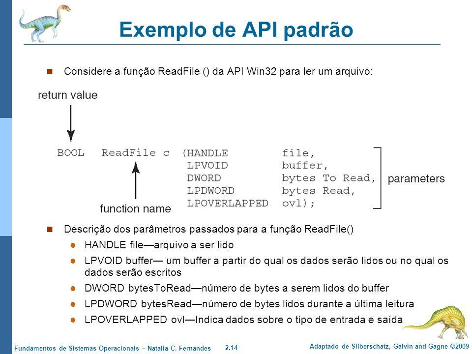 Exemplo de API padrão Considere a função ReadFile () da API Win32 para ler um arquivo: Descrição dos parâmetros passados para a função ReadFile()