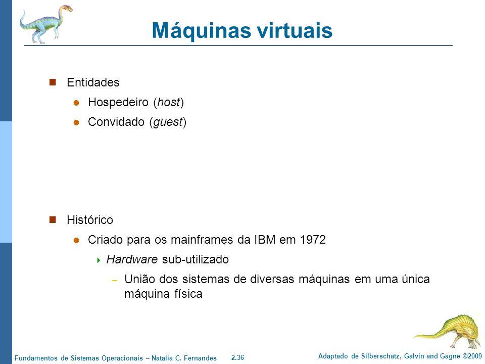 Máquinas virtuais Entidades Hospedeiro (host) Convidado (guest)