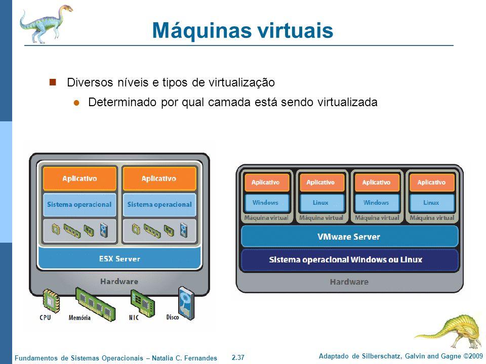 Máquinas virtuais Diversos níveis e tipos de virtualização