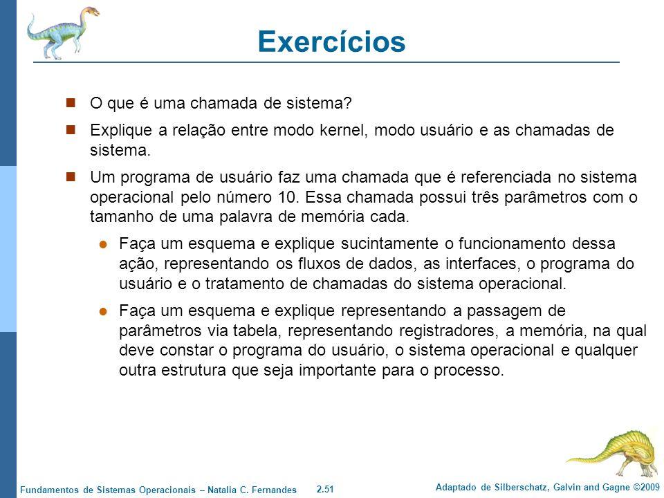 Exercícios O que é uma chamada de sistema