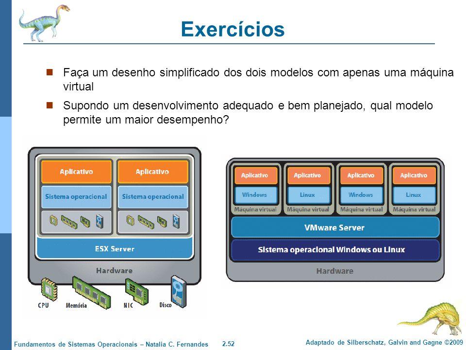 Exercícios Faça um desenho simplificado dos dois modelos com apenas uma máquina virtual.