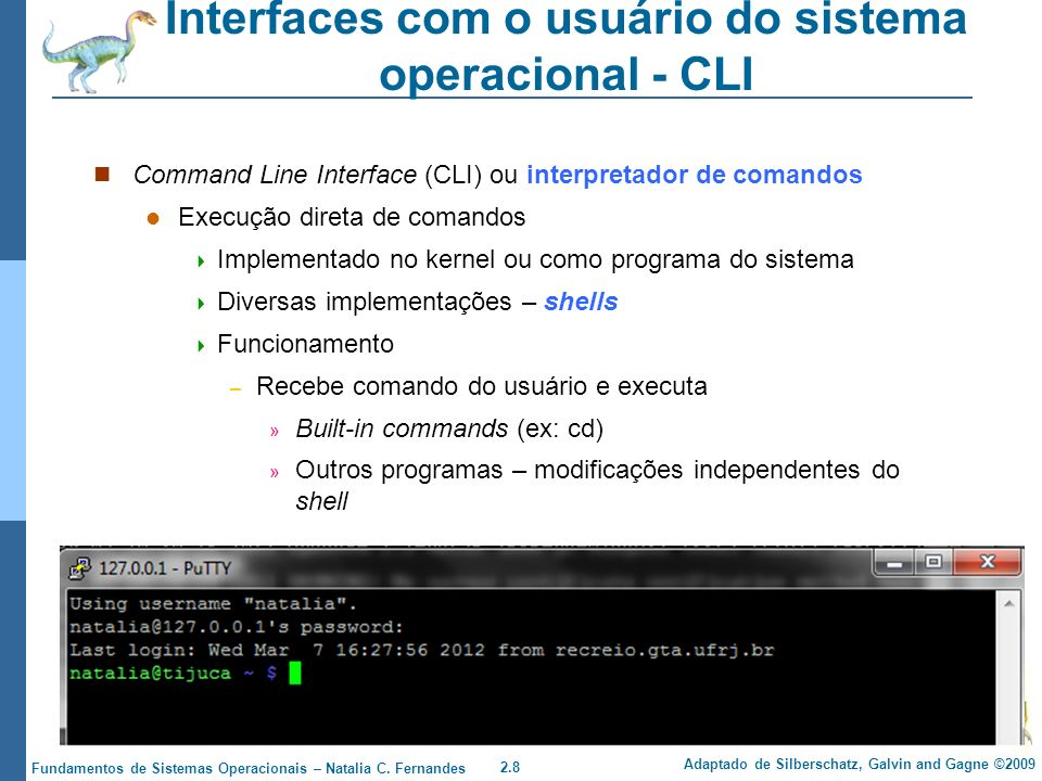 Interfaces com o usuário do sistema operacional - CLI