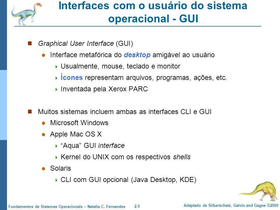Interfaces com o usuário do sistema operacional - GUI